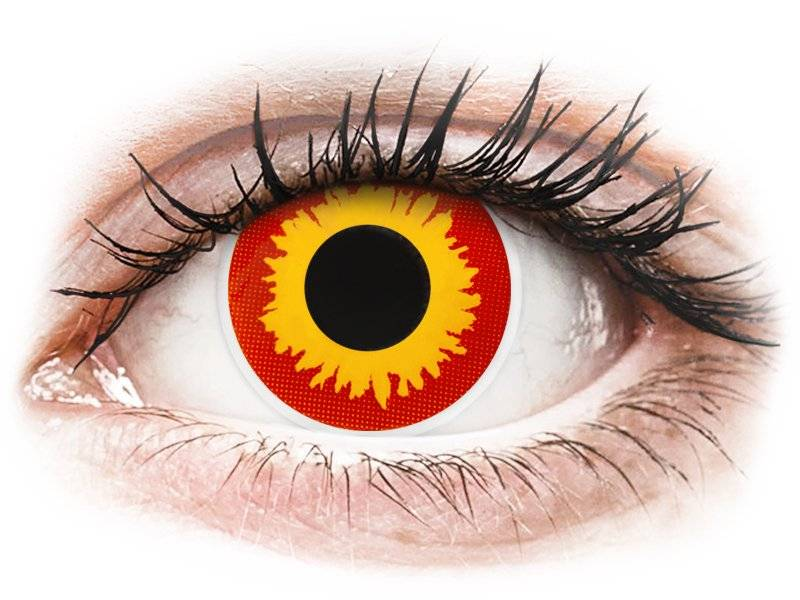 Red and Yellow Wildfire contact lenses - ColourVue Crazy