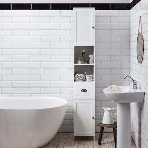 Stow Tallboy Bathroom Cabinet Hallway Storage Unit in Classic White