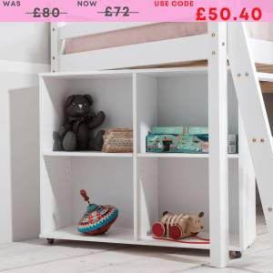 Cube Shelving Unit for Cabin Bed in Solid White Wood Finish: Classic W