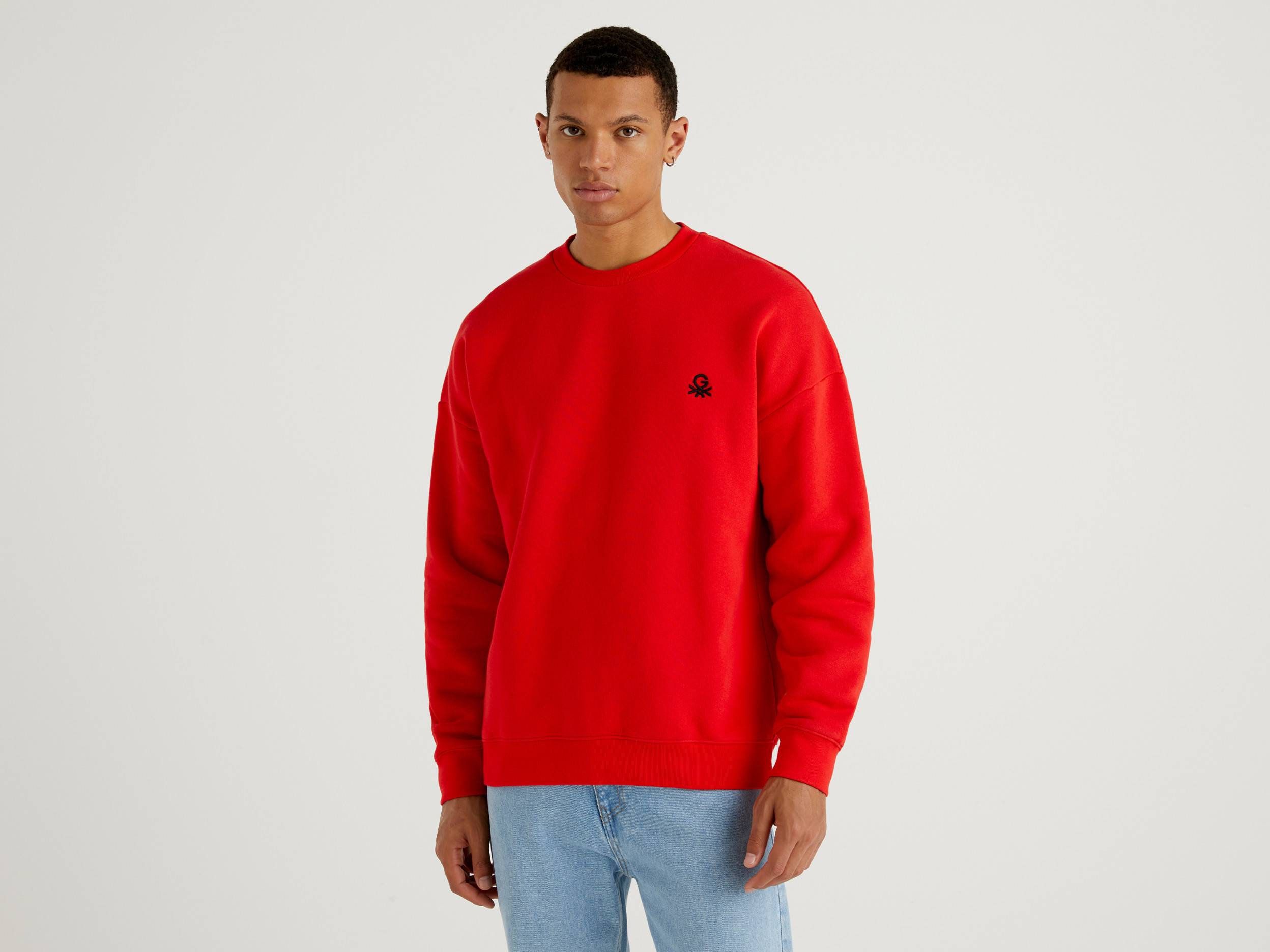 United Colors of Benetton Benetton, Red Unisex Sweatshirt With Embroidery And Print By Ghali, taglia S, Red, Men