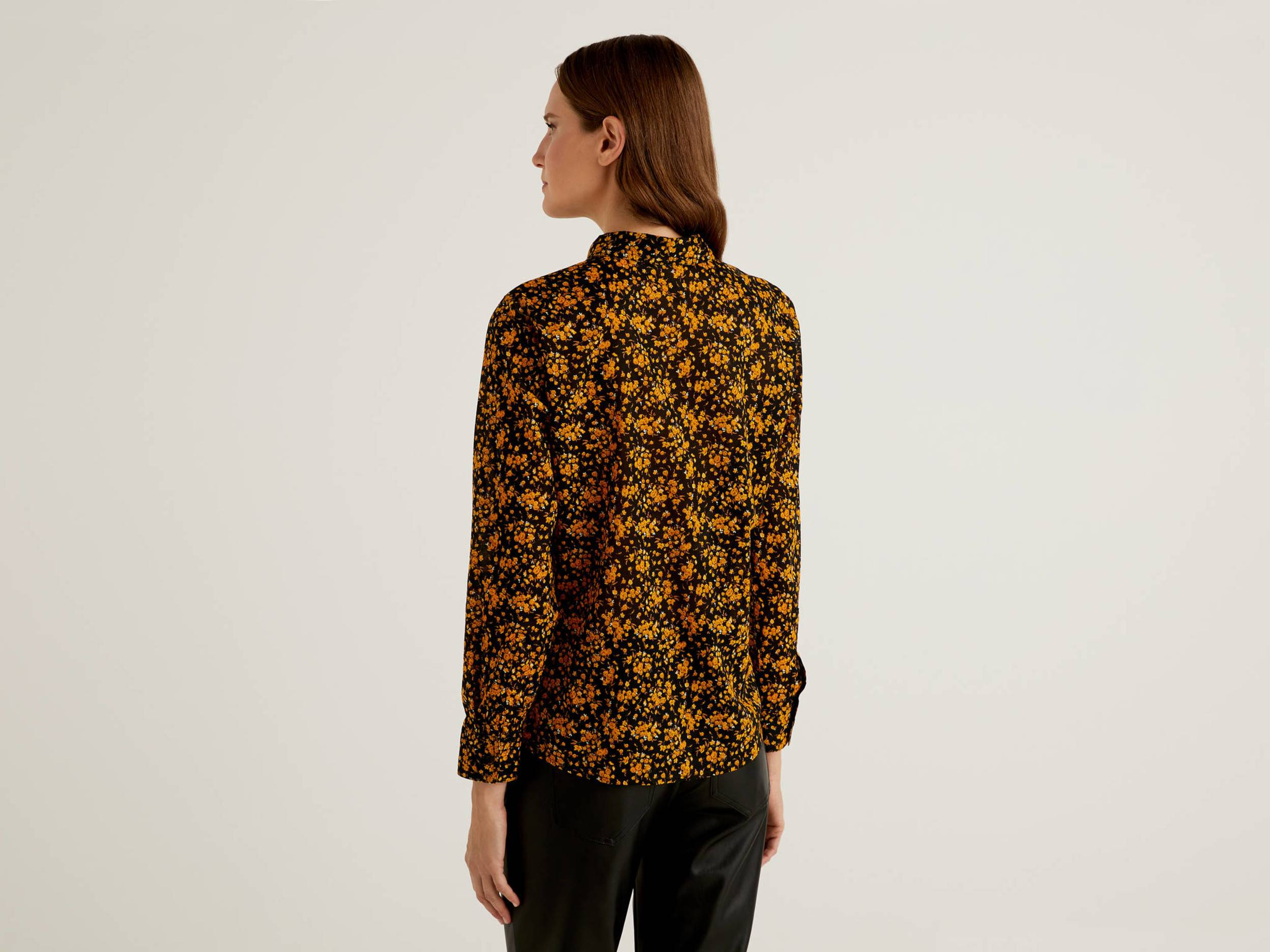 United Colors of Benetton Benetton, Black Shirt With Small Flowers In 100% Cotton, taglia S, Black, Women