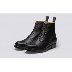 Grenson Shoe 3 Mens Boot in Black Grain Leather on a Leather Sole  - Black - Size: 10