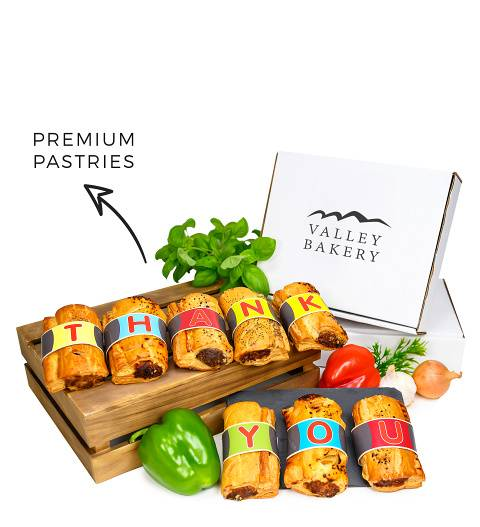 Prestige Hampers Thank You Sausage Rolls - Sausage Roll Gifts - Thank You Gifts - Thank You Gift Delivery - Pie Gifts