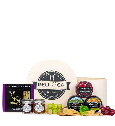 Prestige Hampers Deli & Co Cheese Box - Cheese Hampers - Cheese Gifts - Cheese Gift Baskets - Cheese Hamper Delivery