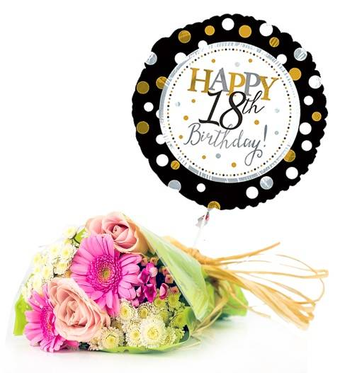 Prestige Hampers Age Balloon and Flowers Hamper - Gift Basket - Prestige Hampers