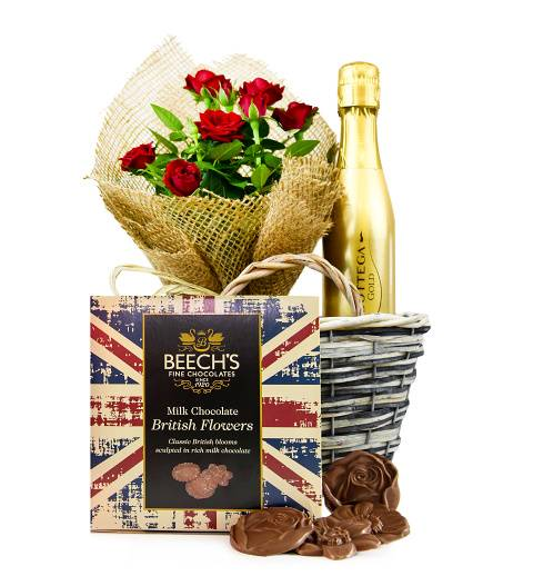 Prestige Hampers Rose Delight Basket - Plant Gifts - Plant Gift Delivery - Birthday Gifts - Birthday Gift Delivery