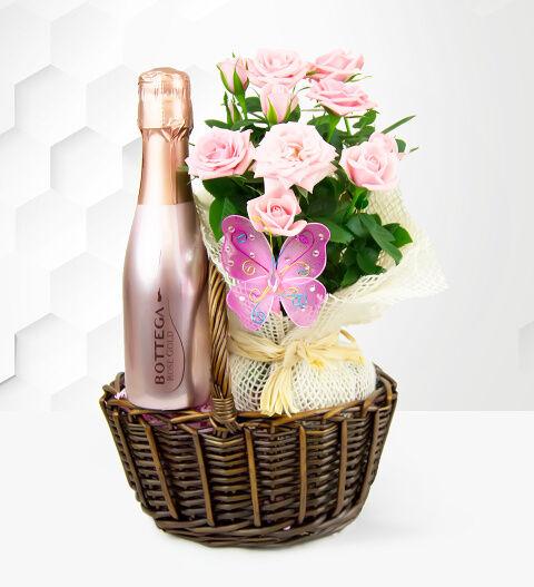 Prestige Hampers Rose and Bottega Basket - Pink Rose Plant - Birthday Gifts - Birthday Gift Delivery - Plant Gifts - Plant Gift Delivery