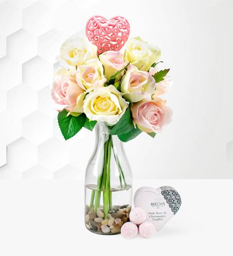 Prestige Hampers Mum's Roses Delight - Mother's Day Silk Flowers - Mother's Day Artificial Plants - Mother's Day Plants - Silk Roses for Mother's Day