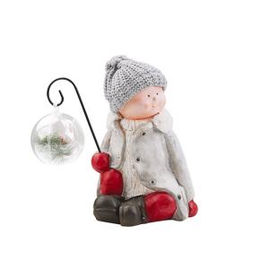 Beliani Figurine Grey Ceramic Handmade Christmas Winter Decoration Child Snow Toy