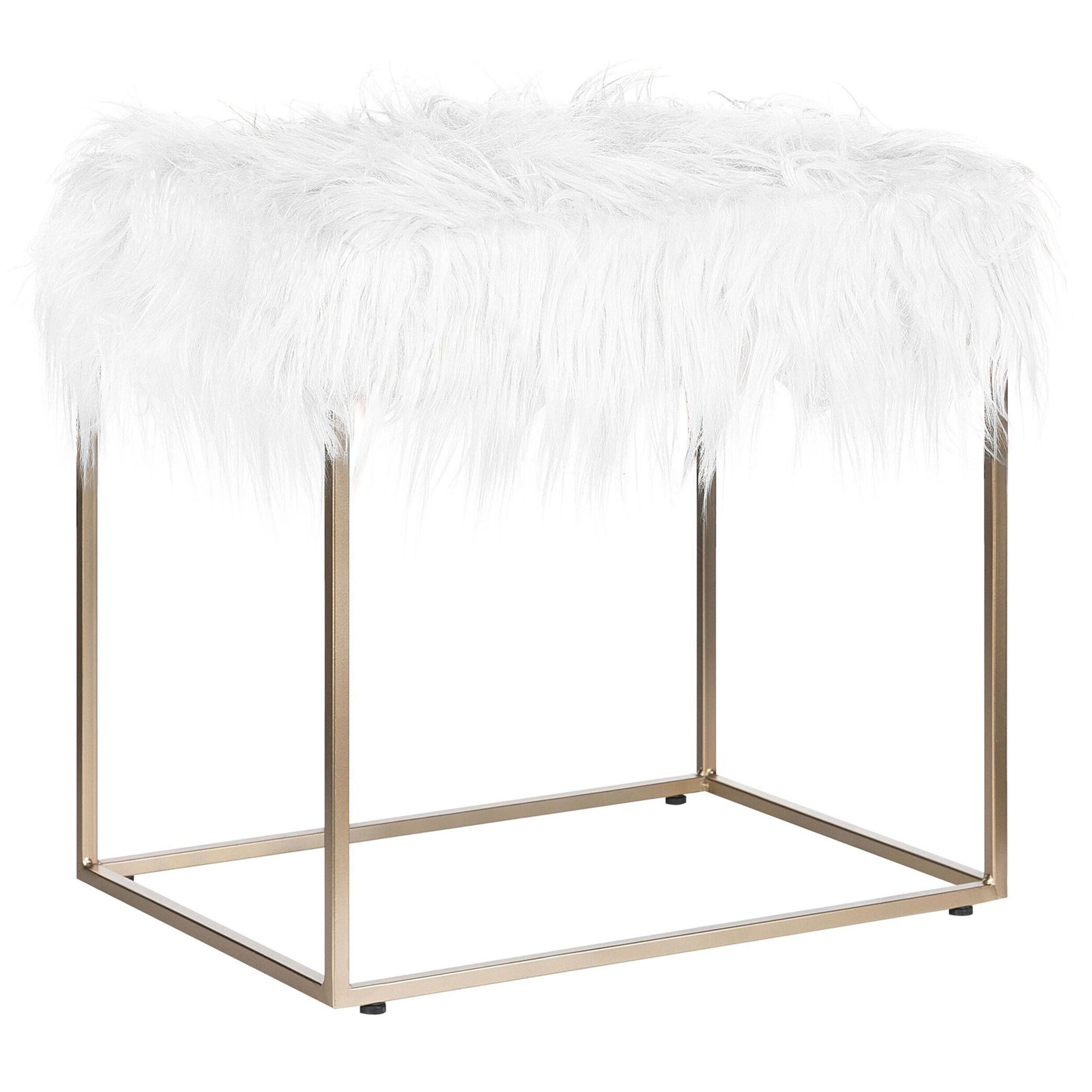Beliani Faux Fur Footstool White with Gold Metal Base Faux Sheepskin Dressing Table Stool Glam Modern