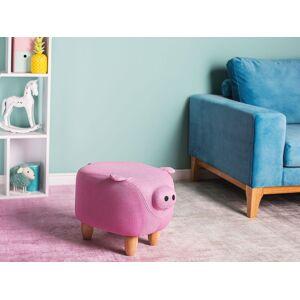 Beliani Animal Pig Children Stool Pink Fabric Wooden Legs Nursery Footstool