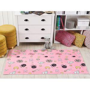 Beliani Kids Area Rug Pink Polyester Cartoon Pattern Floor Playmat