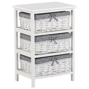 Beliani Storage Unit 3 Wicker Baskets 58 x 40 cm Bedside Table White with Grey Zuri