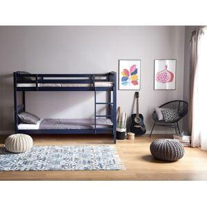 Beliani Double Bank Bed Dark Blue Pine Wood EU Single Size 3ft High Sleeper Children Kids Bedroom
