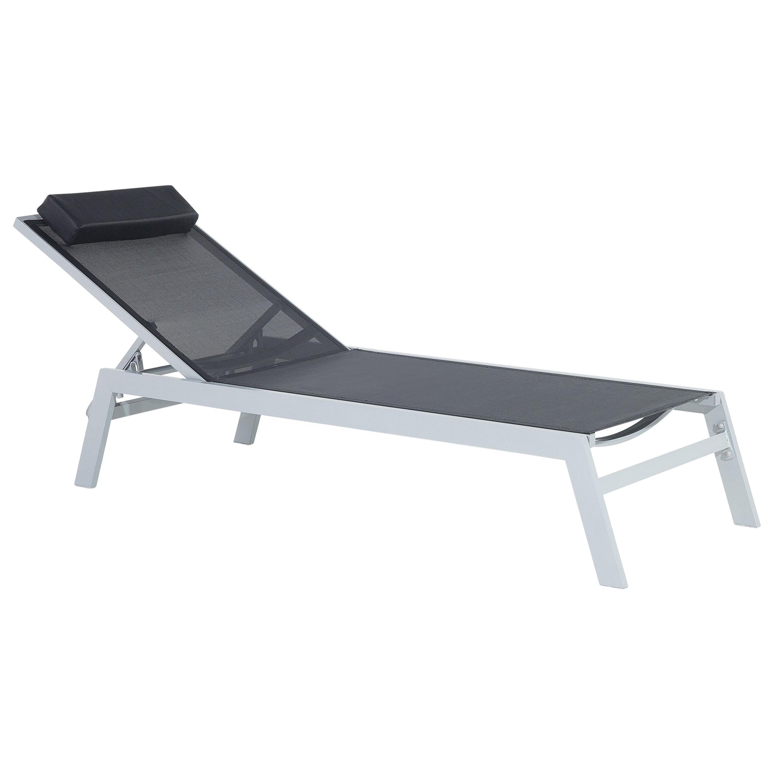 Beliani Garden Outdoor Lounger Black Textile Seat Aluminium Frame Headrest Cushion Adjustable Reclining Backrest
