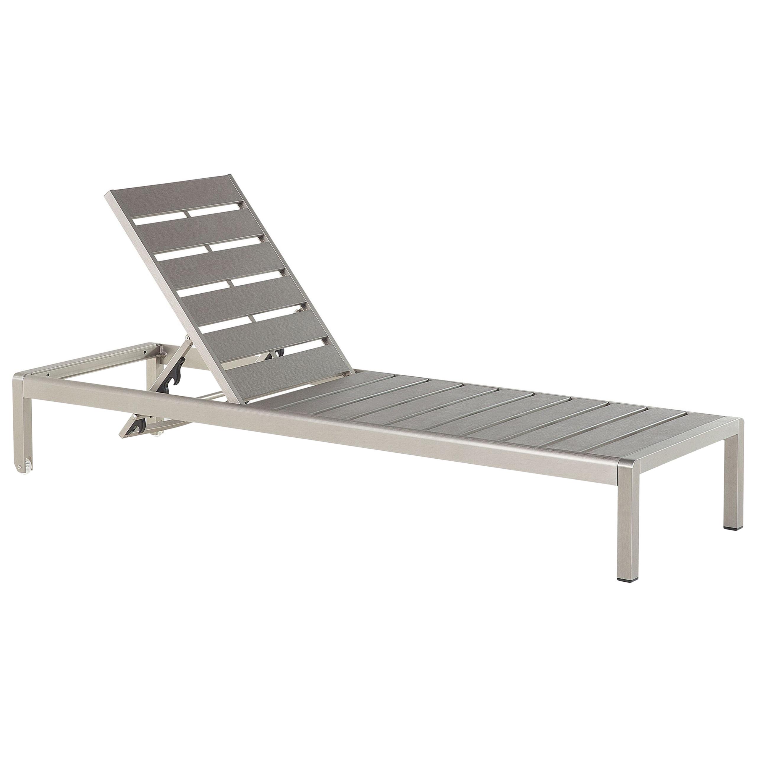 Beliani Garden Outdoor Lounger Grey and Silver Manufactured Wood Aluminium Frame Adjustable Reclining Backrest