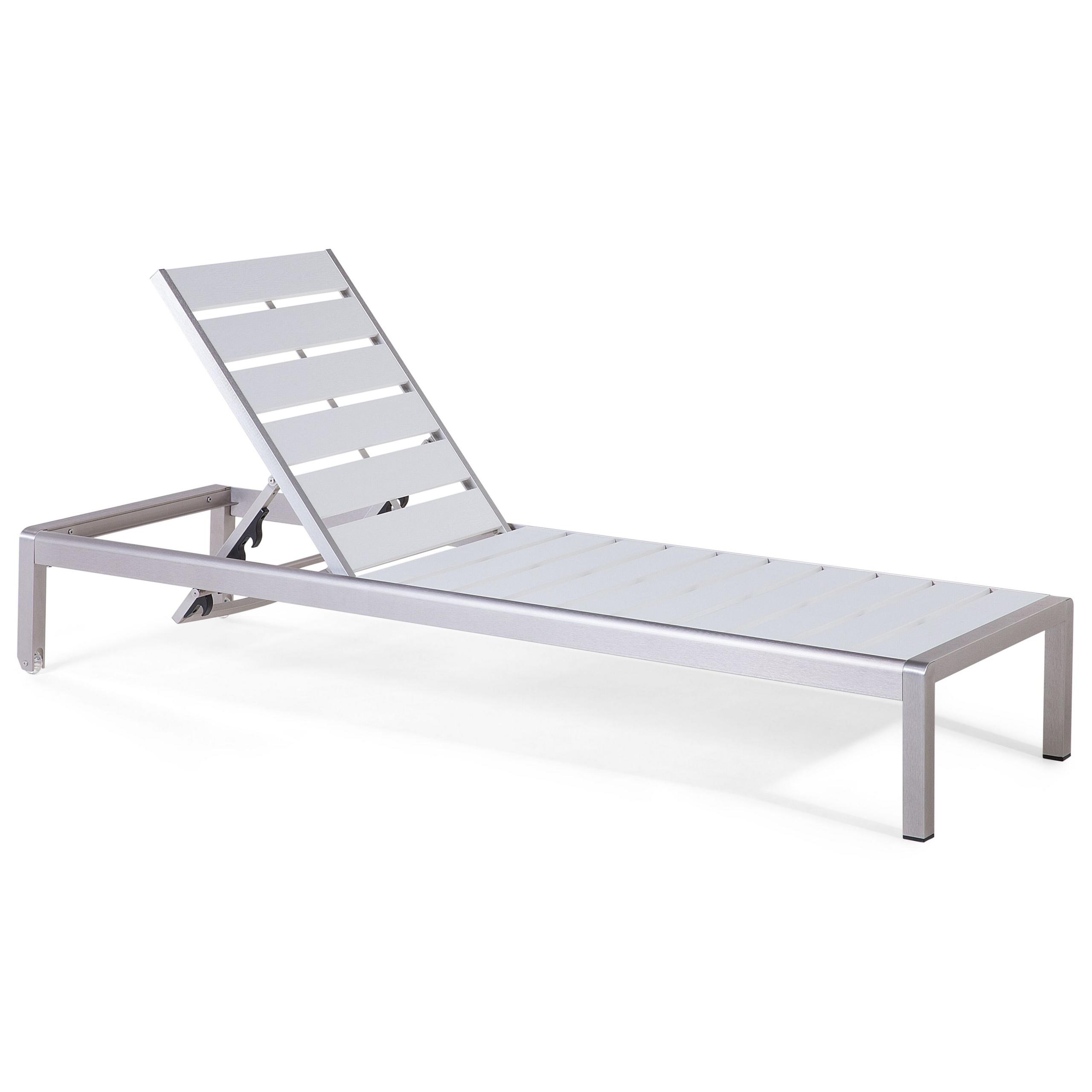 Beliani Garden Outdoor Lounger White Manufactured Wood Aluminium Frame Adjustable Reclining Backrest