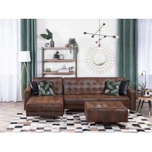 Beliani Corner Sofa Bed Brown Faux Leather Tufted Modern L-Shaped Modular 4 Seater Right Hand Chaise Longue