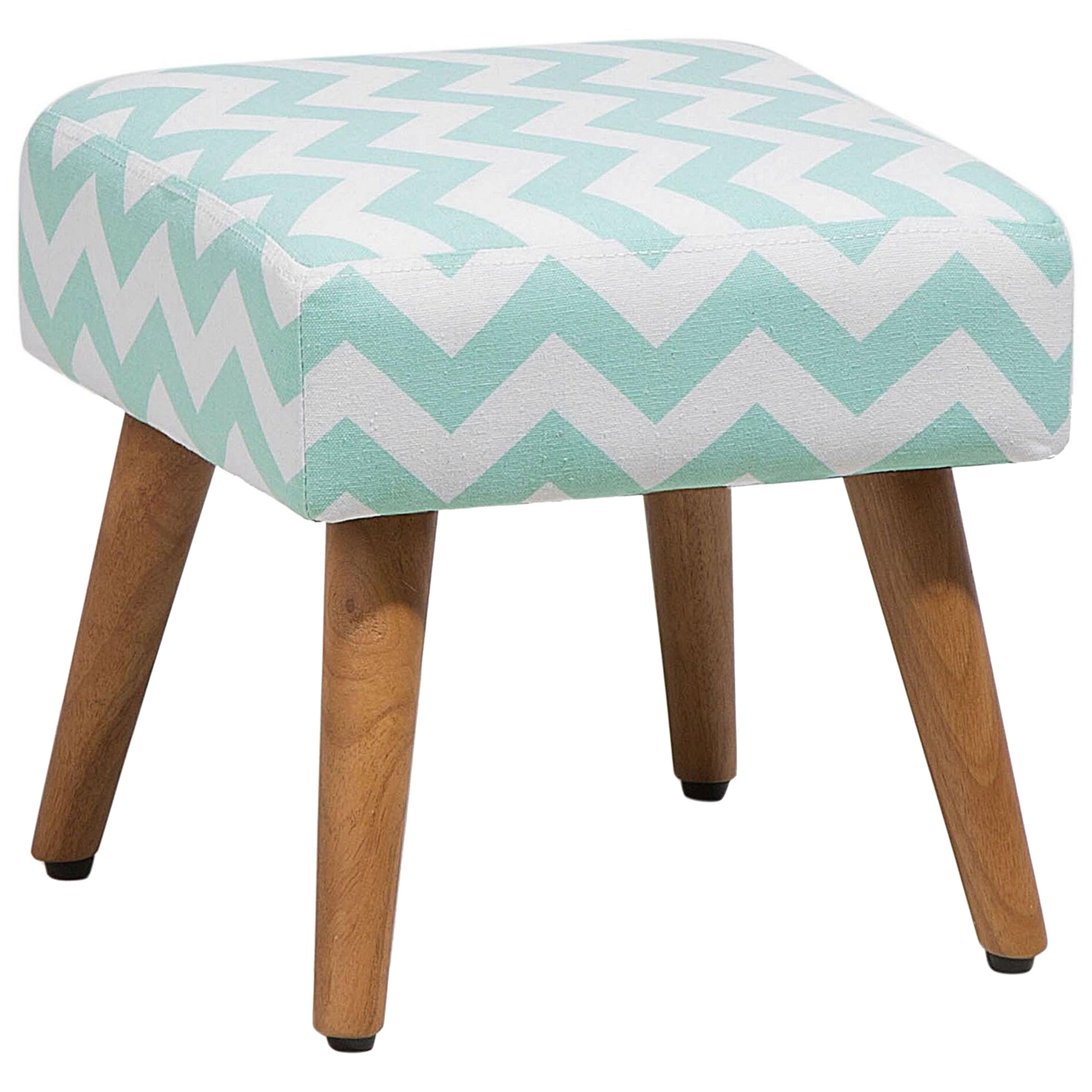 Beliani Footstool Green Fabric Upholstery Square Seat Chevron Pattern Wooden Legs