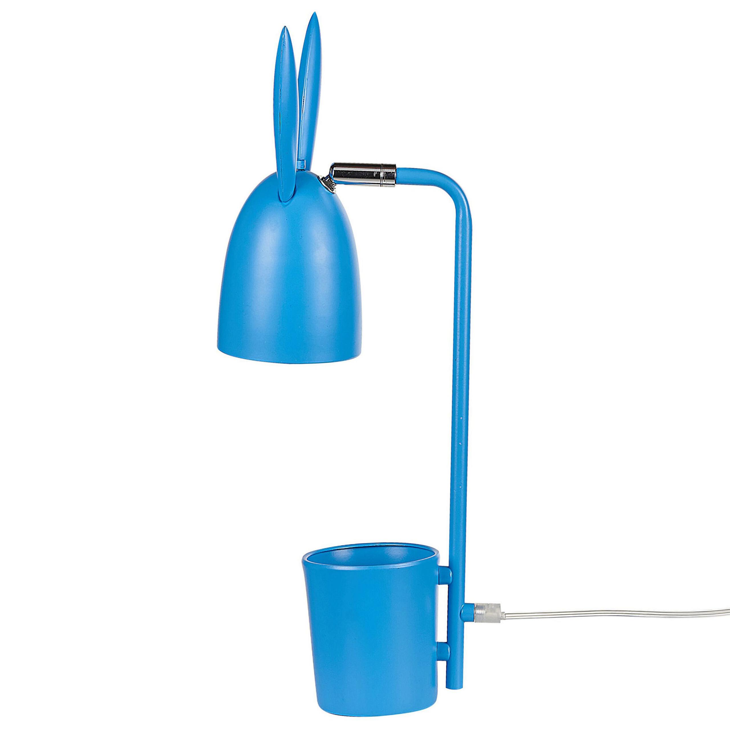 Beliani Desk Lamp Blue Metal Iron 42 cm Table Lamp Bunny Ears Shade Kids Room Modern Design