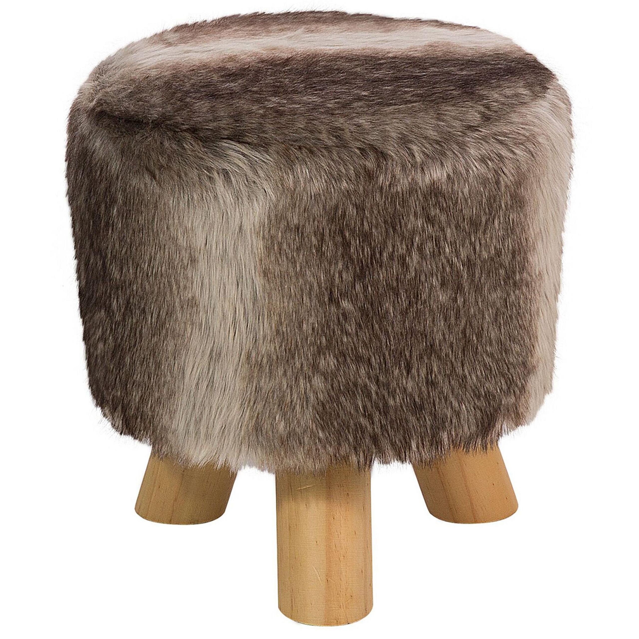 Beliani Footstool Brown and Beige Faux Fur Round Shaggy Stool on Tripod Legs
