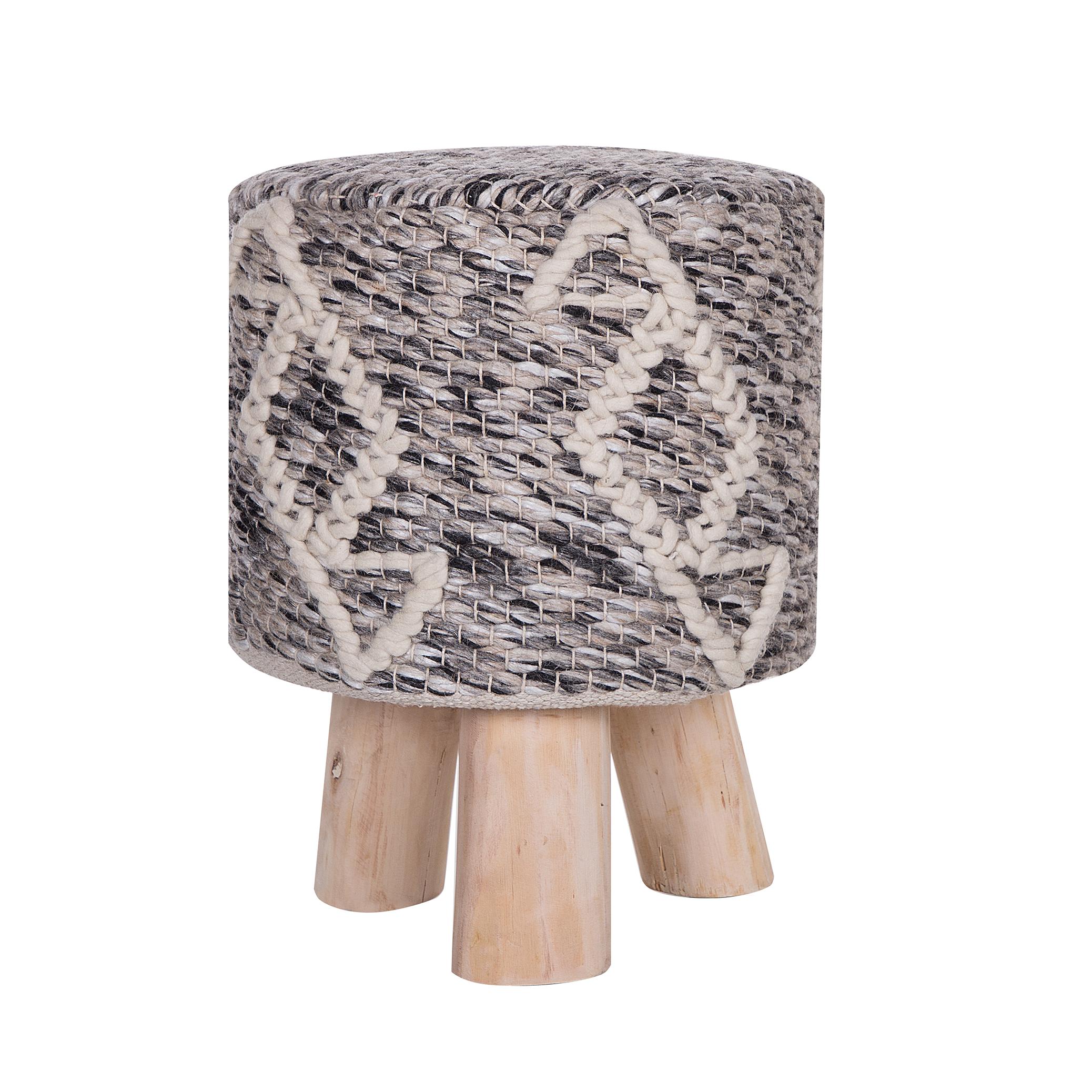Beliani Footstool Taupe Wool Wooden Legs Oriental Pattern Rustic