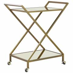Beliani Kitchen Trolley Gold Metal Frame Mirrored Tops Glamour Bar Cart with Lockable Castors