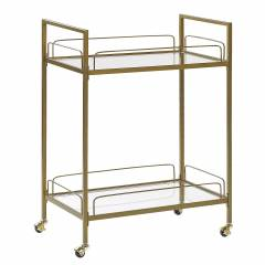 Beliani Kitchen Trolley Gold Metal Legs Tempered Glass Top with Shelf and Castors Glam