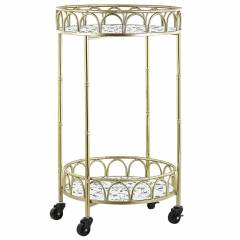 Beliani Kitchen Trolley Gold Iron Frame Terrazzo Effect Tops Glamour Bar Cart with Castors