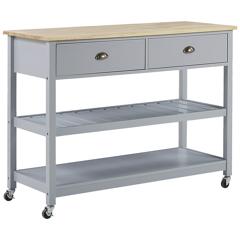 Beliani Kitchen Trolley Grey Light Wood Top 2 Shelves 2 Cutlery Drawers Casters Scandinavian Modern