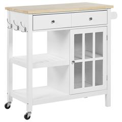 Beliani Kitchen Trolley White MDF Light Wood Top Storage Cabinet Shelves Drawers with Castors Scandinavian