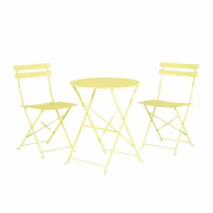 Beliani Outdoor Patio 3 Piece Bistro Set Lime Steel Round Table and Chairs Fiori