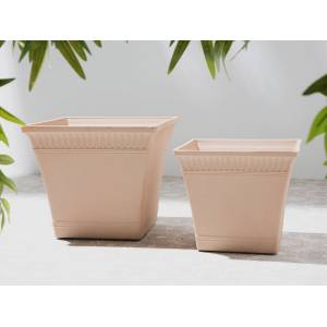 Beliani Plant Pot Planter Solid Peach Pink Stone Mixture Square 41 x 41 cm Outdoor Resistances All-Weather