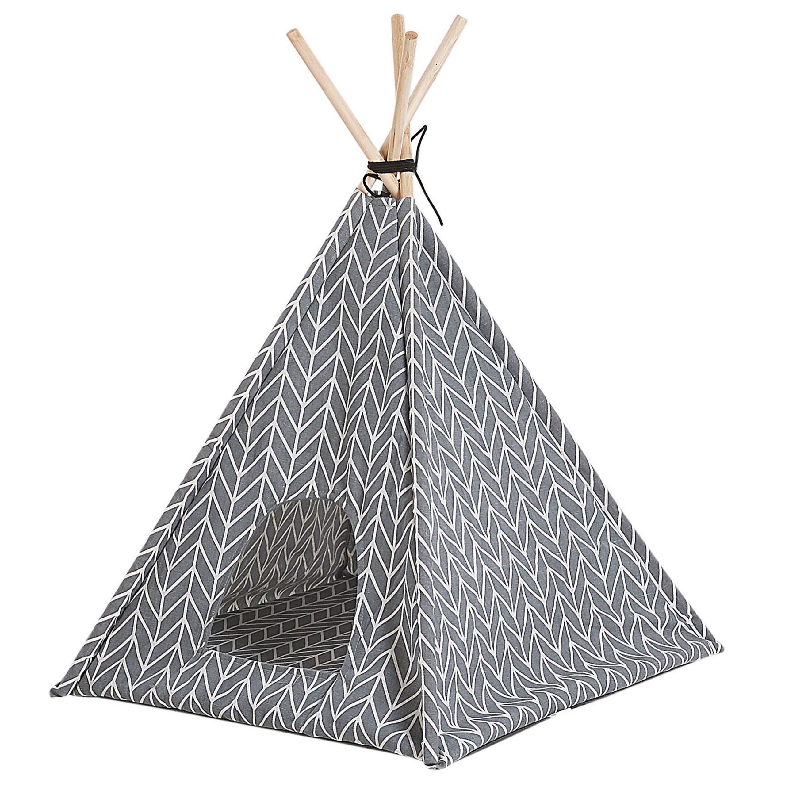 Beliani Pet Teepee Grey Fabric 60 x 60 cm Cat Dog Tent with Pad