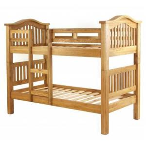 Besp-Oak Vancouver Petite Solid Oak 3ft Single Bunk Bed with Slatted Head And Foot Board
