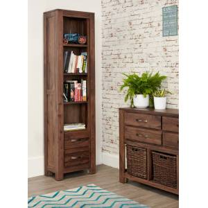 Baumhaus Mayan Walnut Furniture Tall Narrow Bookcase