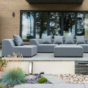 Nova Garden Furniture Buddha Flanelle Fabric 3 Seater Sofa Set with Footstool