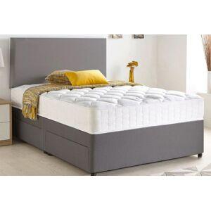 durest beds ltd Grey Chenille Divan Bed with Memory Mattress & Optional Storage - 6 Sizes!
