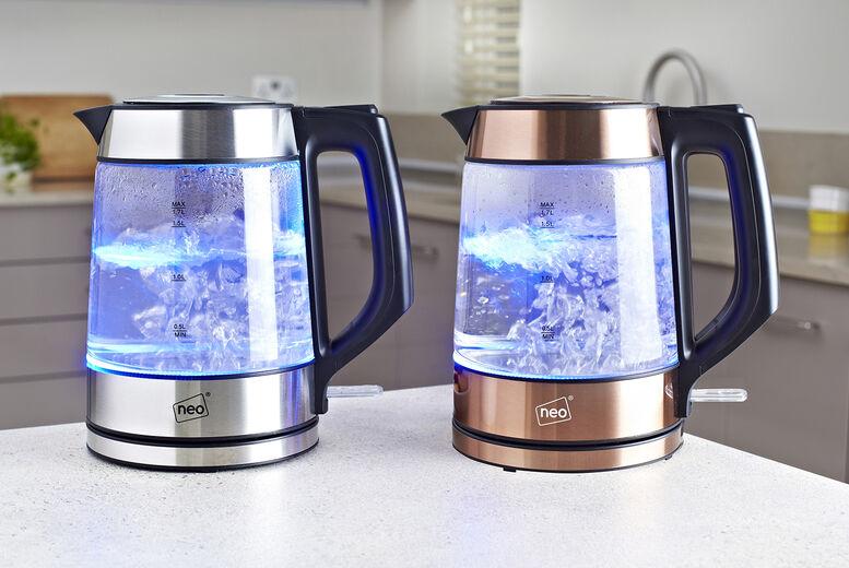 Home Empire Neo Nordic Illuminated LED Glass Kettle – Silver or Copper