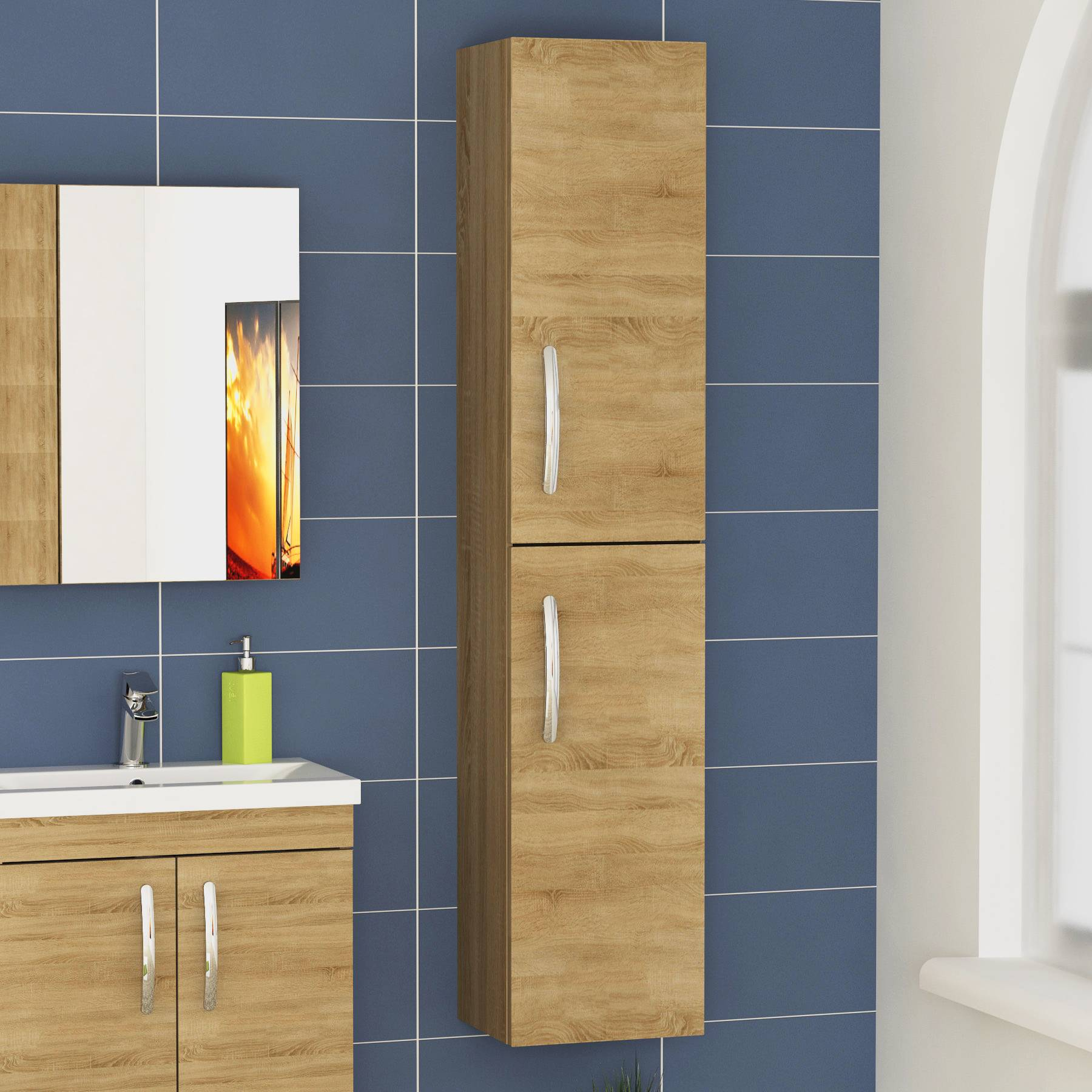 Premier Athena 300mm Natural Oak 2-Door Wall Hung Tall Boy Unit