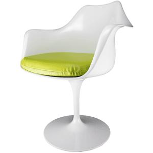 Eero Saarinen Tulip Style Armchair White and Green PU