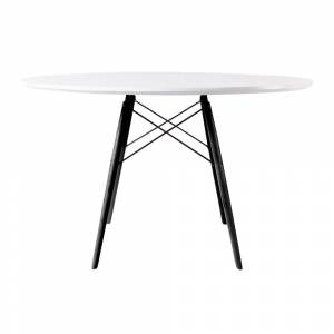 Fusion Living Eiffel Inspired White Circular Dining Table with Black Wood Legs