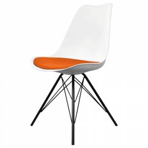 Fusion Living Eiffel Inspired Plastic Dining Chair White and Orange - Black Metal Legs