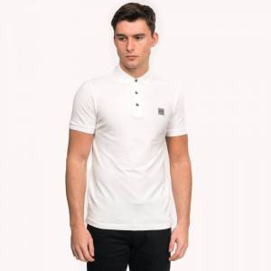 Boss Slim-Fit Passenger Polo Shirt Cotton Pique Colour: White, Size: M