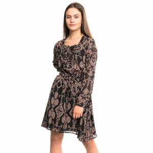 Maison Scotch Printed Sheer Lace Up Oversized Womens Dress Colour: Com