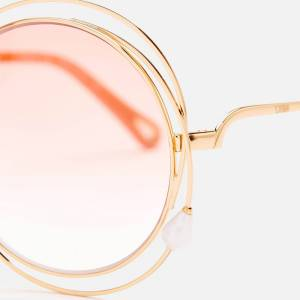 Chloé Women's Carlina Pearl Round Frame Sunglasses - Gold/Peach