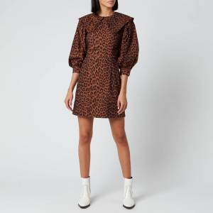 Ganni Women's Leopard Print Cotton Poplin Bib Dress - Toffee - EU 34/UK 6