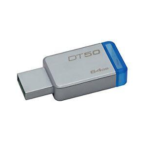 Kingston USB 3.0 Flash Drive DataTraveler 50 64 GB Silver  - Blue