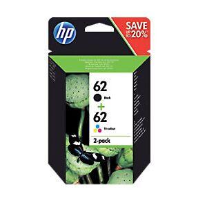 HP 62 Original Ink Cartridge N9J71AE Black & 3 Colours 2 Pieces