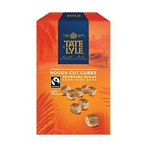 Tate & Lyle Brown Rough Cut Sugar Cubes Fairtrade Damerara 1kg  - Rough Cut Sugar Cubes
